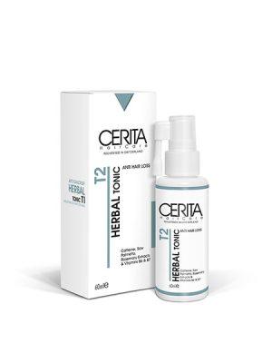 هیرتونیک گیاهی T2 سریتا Cerita anti hair loss herbal tonic مهار ریزش مو و ترمیم موی آسیب دیده جذب سریع ترکیبات و قدرت نفوذ بالا محرک رشد مو با افزایش تغذیه و اکسیژن رسانی در فولیکول مو ترکیبی ویتامینه جهت افزایش ضخامت موهای نازک و در حال رشد